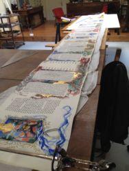 Enluminure de la Meguilat Esther de Gérard Garouste  - Travail en cours de réalisation