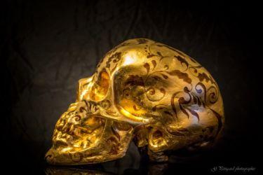 Crâne or rouge sur résine